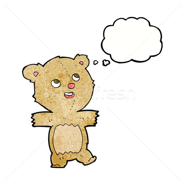 Cartoon orsacchiotto bolla di pensiero mano felice design Foto d'archivio © lineartestpilot