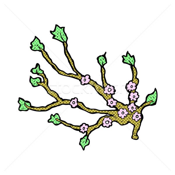 Cómico Cartoon floración rama retro Foto stock © lineartestpilot