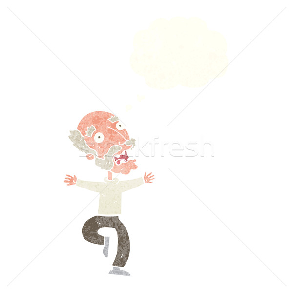 cartoon old man having a fright with thought bubble Stock photo © lineartestpilot