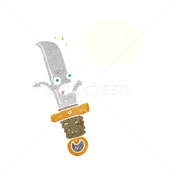 Cartoon bange mes gedachte bel hand ontwerp Stockfoto © lineartestpilot
