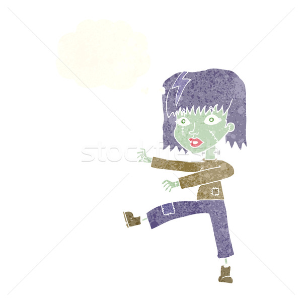 Stock photo: cartoon zombie girl with thought bubble