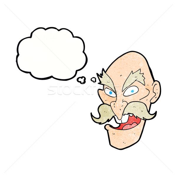 Cartoon kwaad oude man gezicht tekstballon hand Stockfoto © lineartestpilot