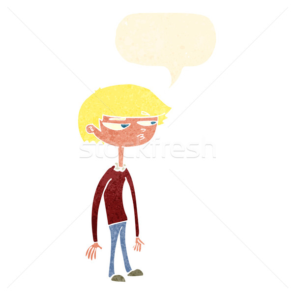 cartoon suspicious boy with speech bubble Stock photo © lineartestpilot
