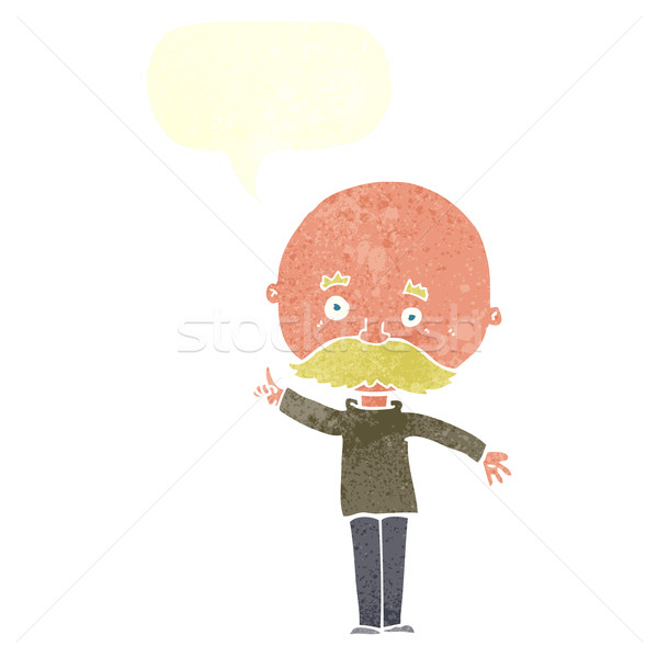 cartoon bald man with idea with speech bubble Stock photo © lineartestpilot