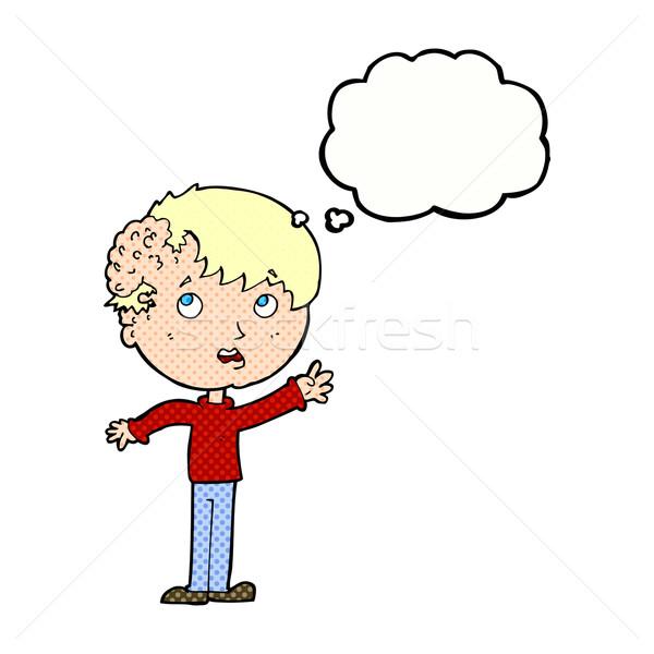 Cartoon ragazzo crescita testa bolla di pensiero mano Foto d'archivio © lineartestpilot