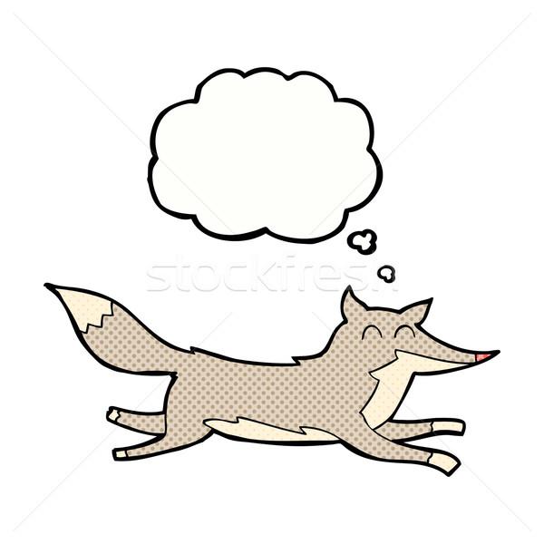 Сток-фото: Cartoon · работает · волка · мысли · пузырь · стороны · дизайна