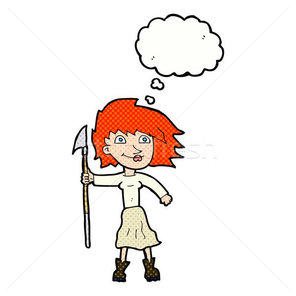 Cartoon женщину копье мысли пузырь стороны дизайна Сток-фото © lineartestpilot