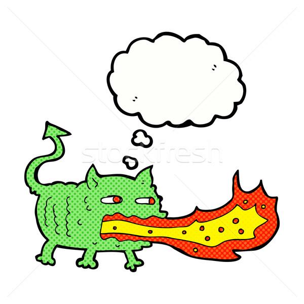Cartoon огня дыхание мысли пузырь стороны Сток-фото © lineartestpilot