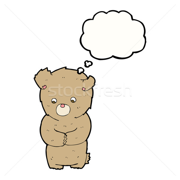 Cartoon shy orsacchiotto bolla di pensiero mano design Foto d'archivio © lineartestpilot