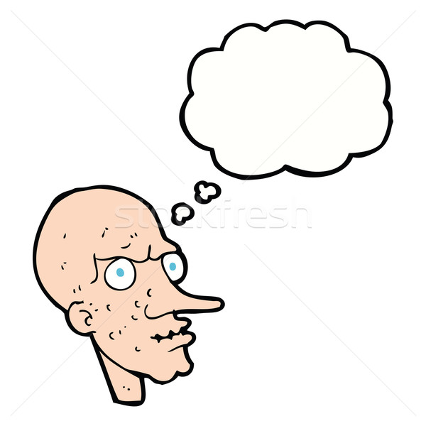 cartoon evil old man with thought bubble Stock photo © lineartestpilot
