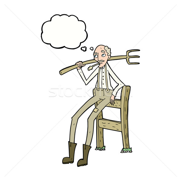 cartoon old farmer leaning on fence with thought bubble Stock photo © lineartestpilot