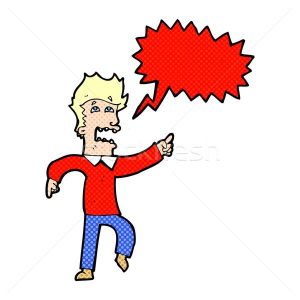 Сток-фото: Cartoon · испуганный · человека · указывая · речи · пузырь · стороны