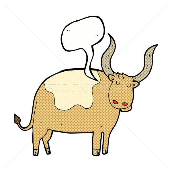 漫画 雄牛 吹き出し 手 デザイン 牛 ストックフォト © lineartestpilot