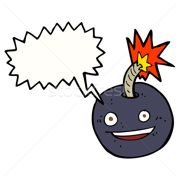 cartoon burning bomb with speech bubble Stock photo © lineartestpilot