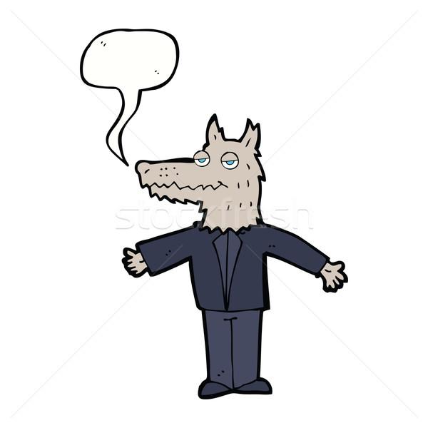 Karikatür kurt konuşma balonu el dizayn sanat Stok fotoğraf © lineartestpilot