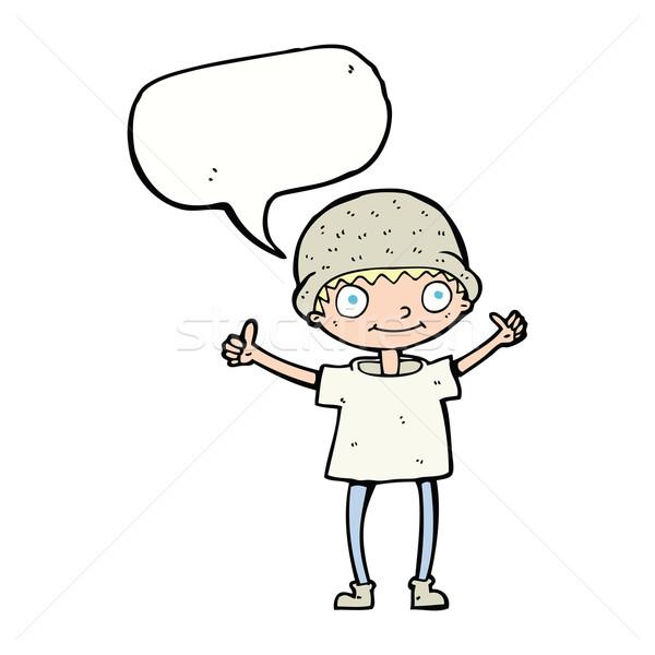 cartoon boy with positive attitude with speech bubble Stock photo © lineartestpilot