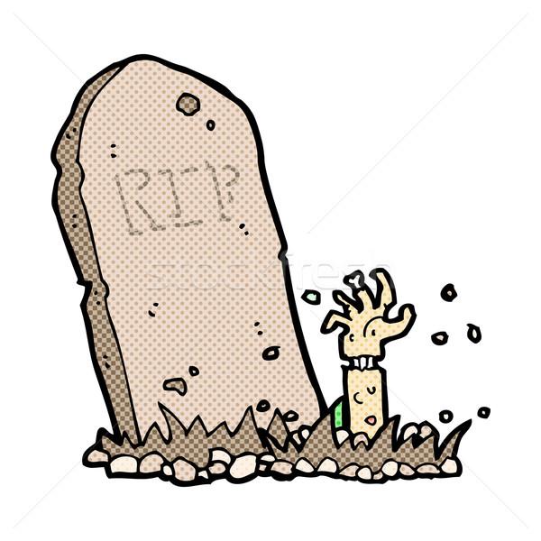 Cômico desenho animado zumbi grave retro Foto stock © lineartestpilot