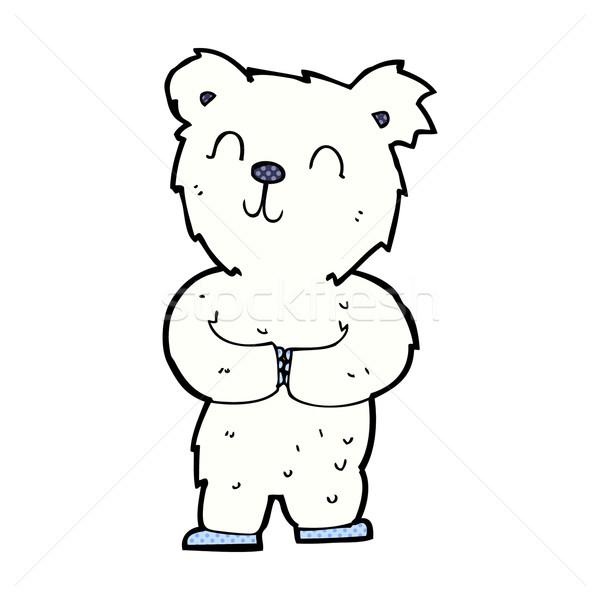 Dessinées cartoon heureux peu ours polaire rétro Photo stock © lineartestpilot