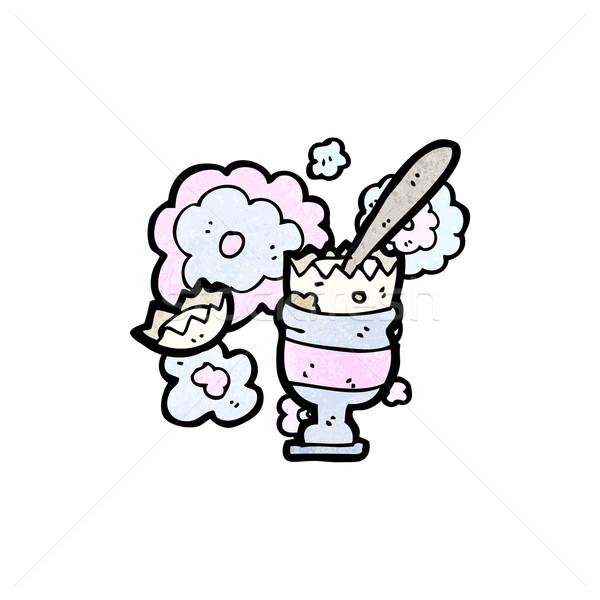 漫画 卵 エッグカップ レトロな 図面 かわいい ストックフォト © lineartestpilot