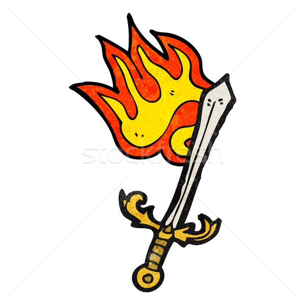 burning sword cartoon Stock photo © lineartestpilot