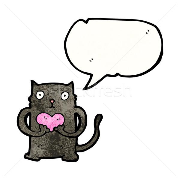 黒猫 漫画 愛 中心 黒 レトロな ストックフォト © lineartestpilot