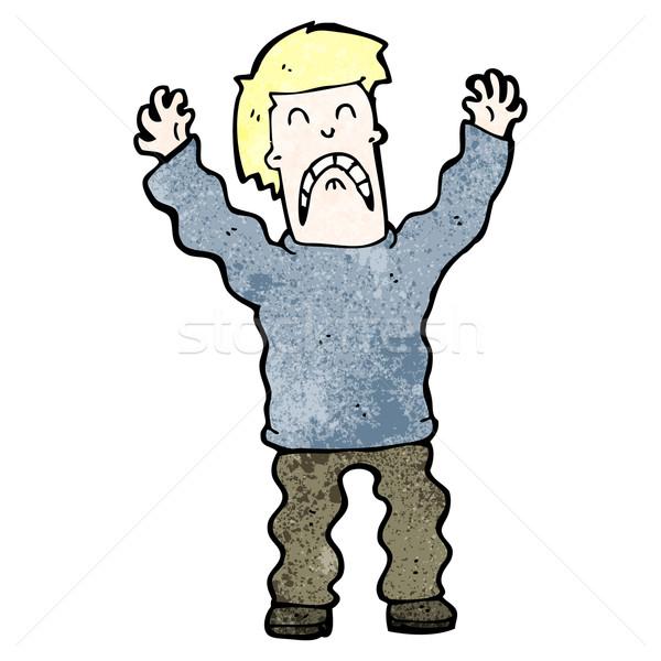 Cartoon przerażony człowiek retro rysunek mężczyzna Zdjęcia stock © lineartestpilot