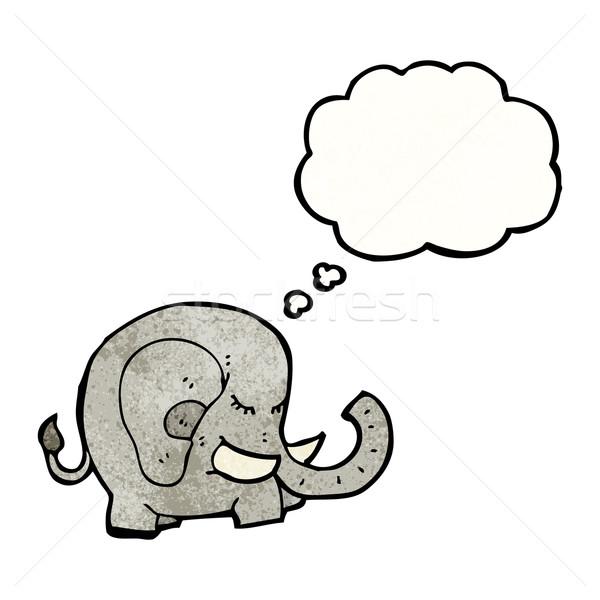 Cartoon słoń bubble myśl retro tekstury odizolowany Zdjęcia stock © lineartestpilot