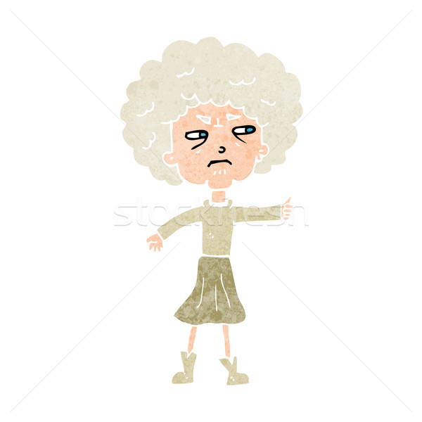 Cartoon agacé vieille femme femme main design Photo stock © lineartestpilot