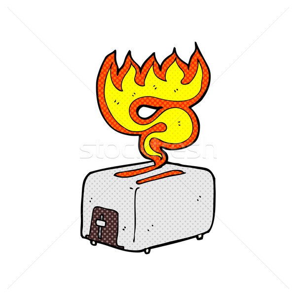 comic cartoon burning toaster Stock photo © lineartestpilot