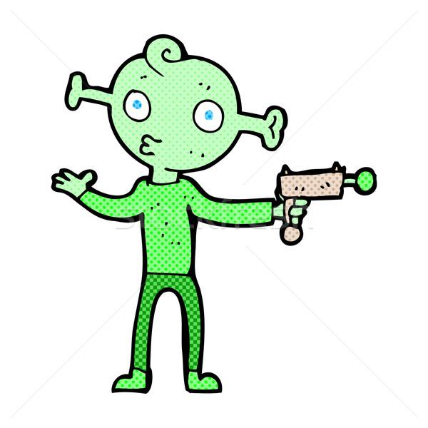 Komische cartoon vreemdeling pistool retro Stockfoto © lineartestpilot