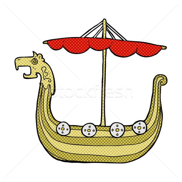 comic cartoon viking ship Stock photo © lineartestpilot