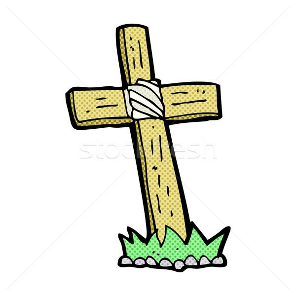 Cómico Cartoon cruz graves retro Foto stock © lineartestpilot