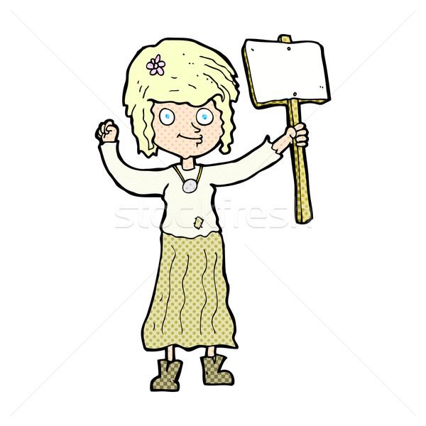 Komik karikatür hippi kız protesto imzalamak Stok fotoğraf © lineartestpilot