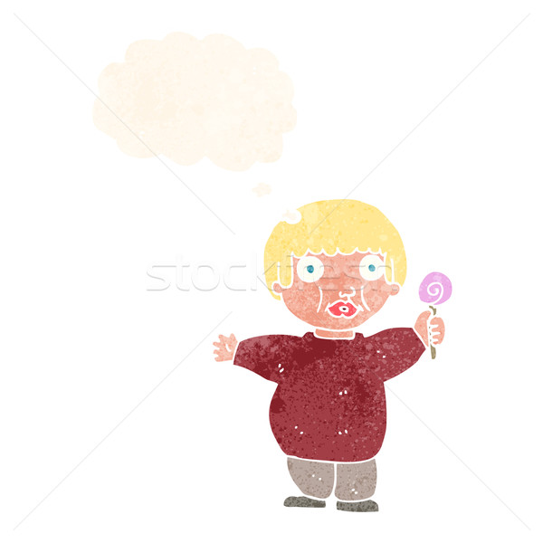 Stock photo: cartoon fat child with thought bubble