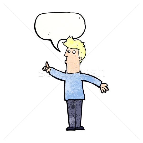 Cartoon człowiek ostrożność dymka strony projektu Zdjęcia stock © lineartestpilot