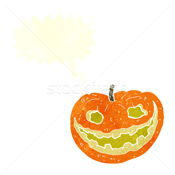 cartoon spooky pumpkin with speech bubble Stock photo © lineartestpilot