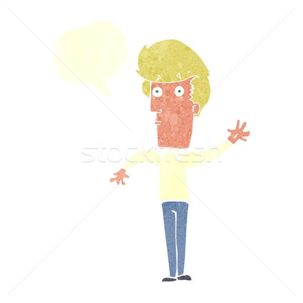 Rajz ideges férfi integet szövegbuborék kéz Stock fotó © lineartestpilot