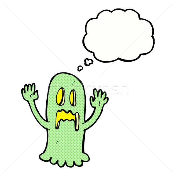cartoon spooky ghost with thought bubble Stock photo © lineartestpilot