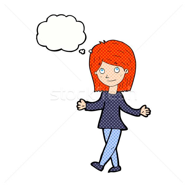 Rajz nő semmi gond gondolatbuborék kéz boldog Stock fotó © lineartestpilot