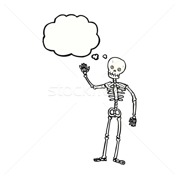cartoon waving skeleton with thought bubble Stock photo © lineartestpilot