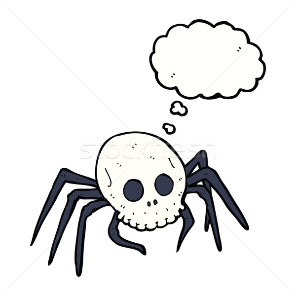 cartoon spooky halloween skull spider with thought bubble Stock photo © lineartestpilot