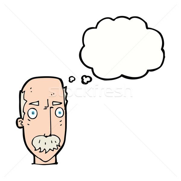 Desenho animado irritado velho balão de pensamento mão cara Foto stock © lineartestpilot