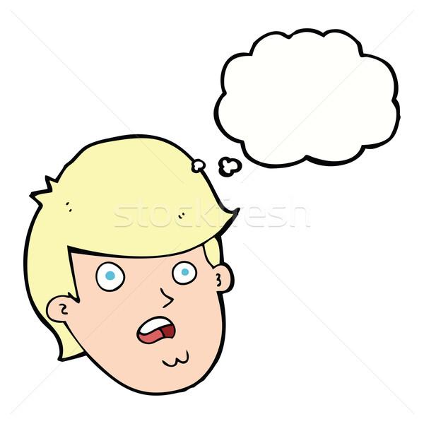 Cartoon człowiek duży podbródek bubble myśl strony Zdjęcia stock © lineartestpilot