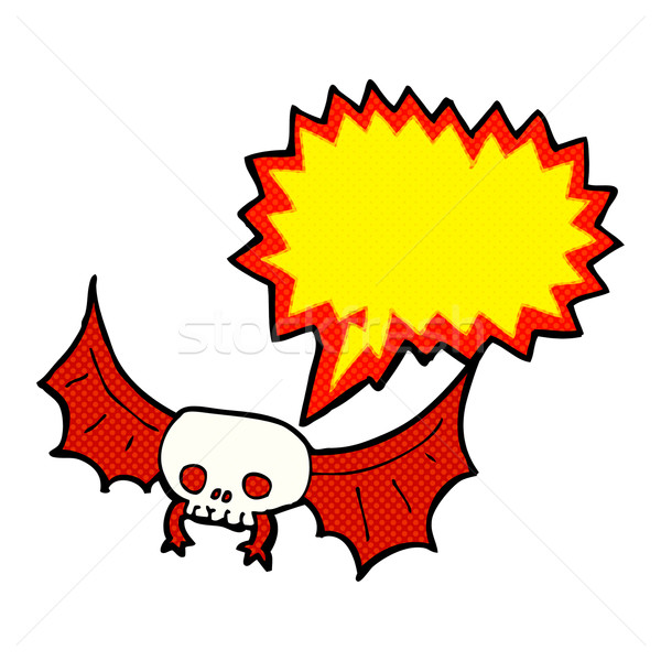 cartoon spooky skull bat with speech bubble Stock photo © lineartestpilot