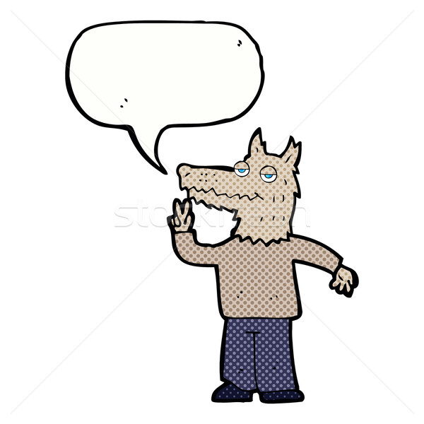 Karikatür mutlu kurt adam konuşma balonu el Stok fotoğraf © lineartestpilot