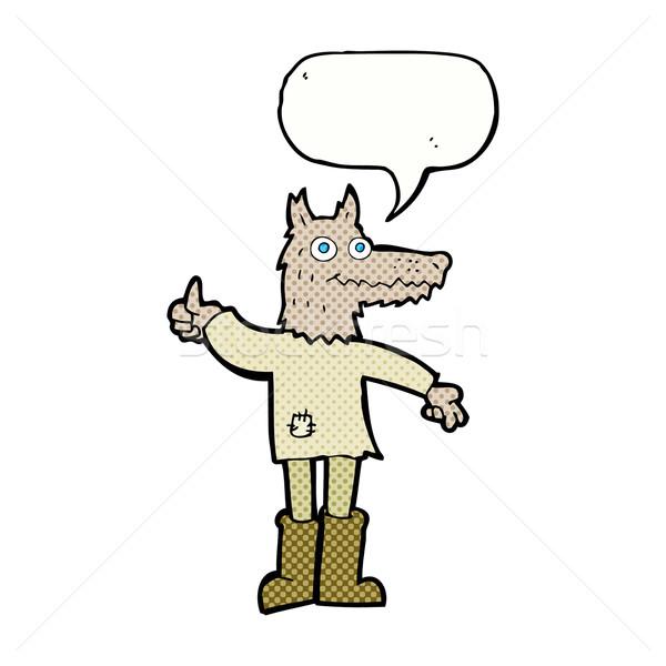 Cartoon loup homme bulle main design Photo stock © lineartestpilot