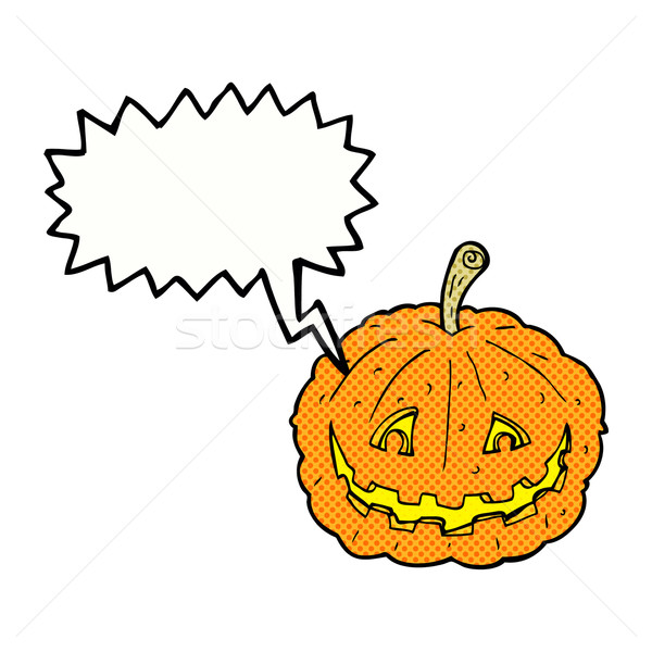 cartoon grinning pumpkin with speech bubble Stock photo © lineartestpilot