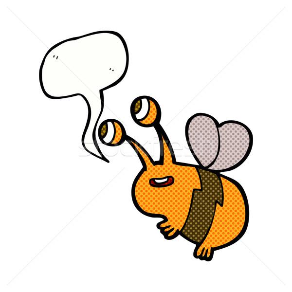 cartoon happy bee with speech bubble Stock photo © lineartestpilot