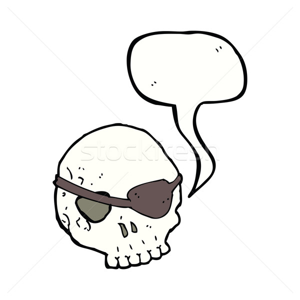 Stock photo: cartoon skull with eye patch with speech bubble
