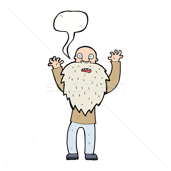 cartoon frightened old man with beard with speech bubble Stock photo © lineartestpilot